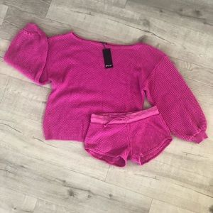 NWT Pink Sweater and Shorts Set